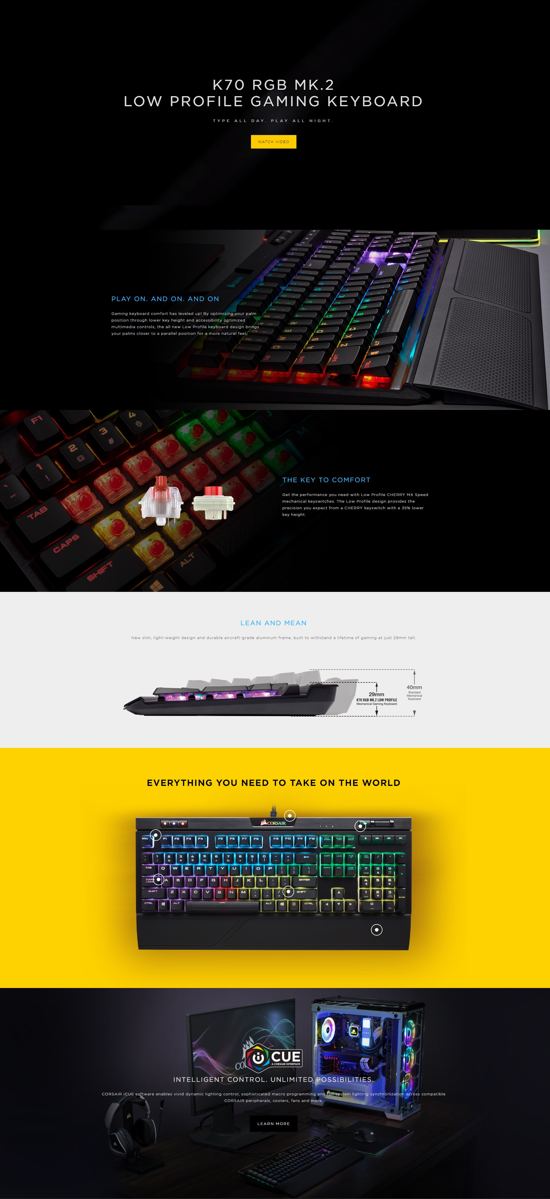 Bàn Phím Cơ Corsair K70 RGB MK2 Low Profile Cherry Speed Switch