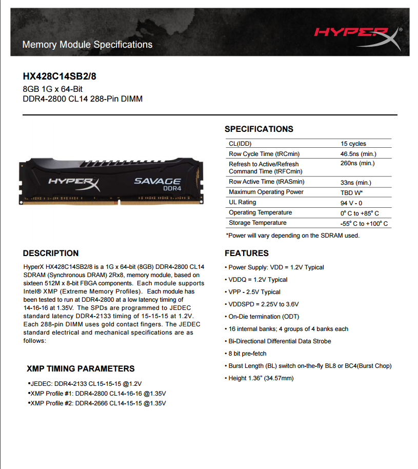 RAM Kingston Savage HyperX 8G DDR4 Bus 2800Mhz